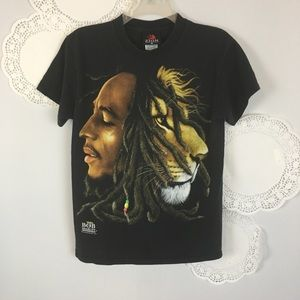 Bob Marley Lion Graphic Zion Music Tee Top Sz S
